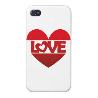 Corazón del ejemplo con AMOR de las letras en rojo iPhone 4/4S Carcasa