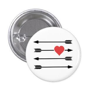 Corazón del el día de San Valentín de la flecha Chapa Redonda 2,5 Cm