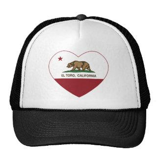 corazón del EL Toro de la bandera de California Gorras