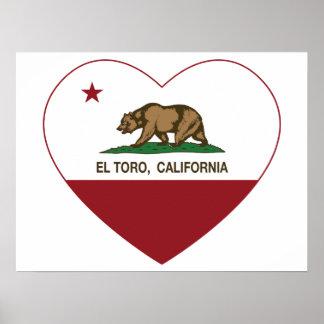 corazón del EL Toro de la bandera de California Poster