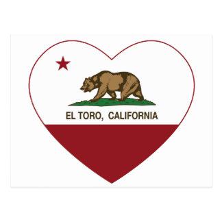 corazón del EL Toro de la bandera de California Postal