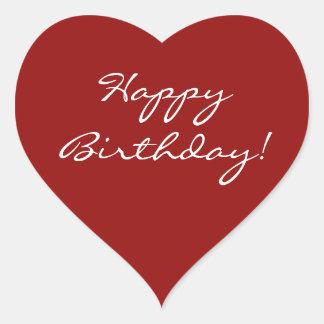Corazón del feliz cumpleaños pegatina en forma de corazón