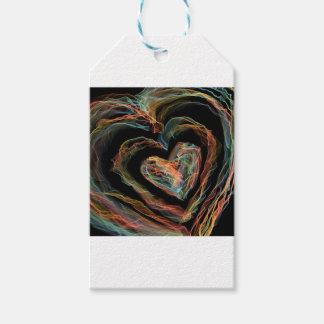 Corazón del fuego del arco iris etiquetas para regalos