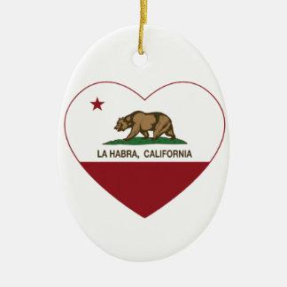 corazón del habra del la de la bandera de Californ Ornamentos Para Reyes Magos