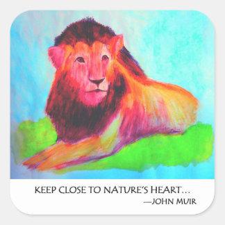 Corazón del león - protección John Muir del animal Pegatina Cuadrada