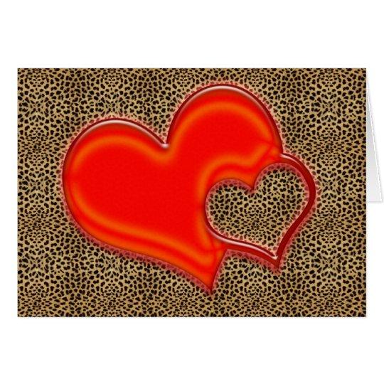 corazón del leopardo tarjeta de felicitación