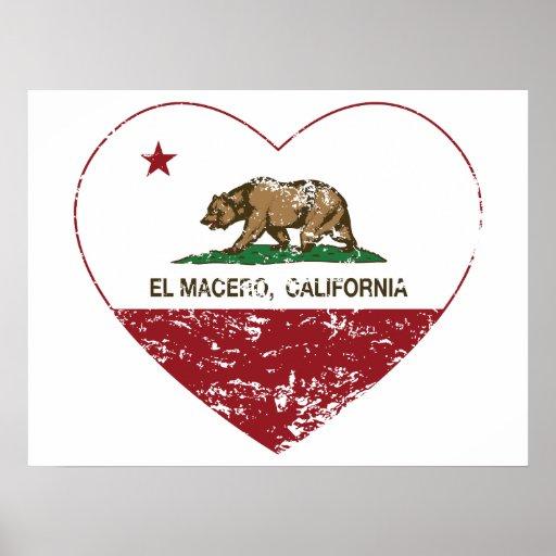 corazón del macero del EL de la bandera de Califor Impresiones