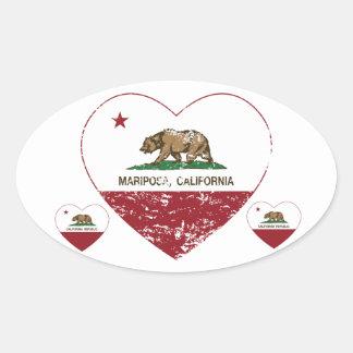 corazón del mariposa de la bandera de California a Pegatinas Ovaladas Personalizadas