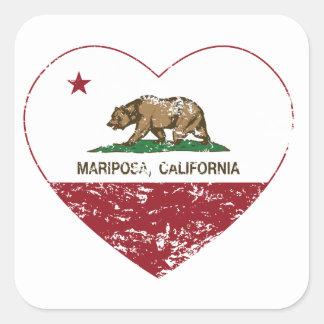 corazón del mariposa de la bandera de California a Calcomanías Cuadradas Personalizadas