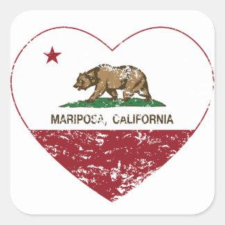 corazón del mariposa de la bandera de California a Calcomanías Cuadradas