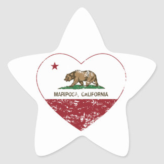 corazón del mariposa de la bandera de California a Calcomania Forma De Estrella Personalizada