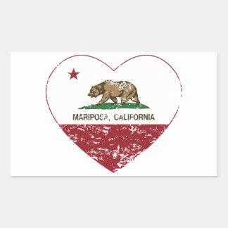 corazón del mariposa de la bandera de California a Rectangular Pegatinas