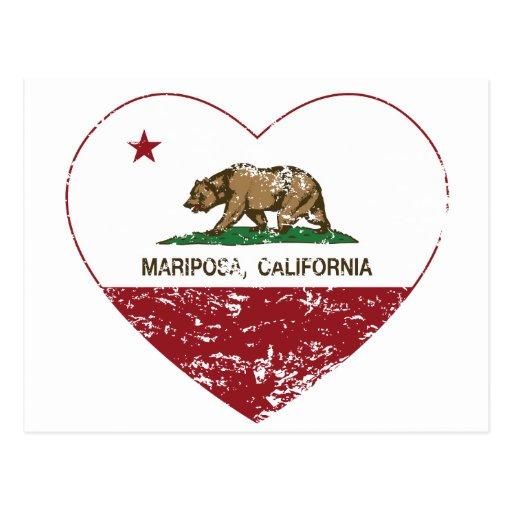 corazón del mariposa de la bandera de California a Postales