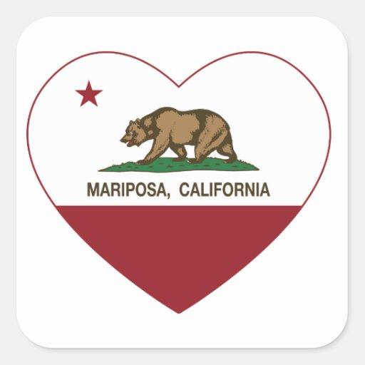 corazón del mariposa de la bandera de California Calcomanías Cuadradas Personalizadas