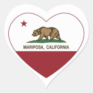 corazón del mariposa de la bandera de California Calcomanías De Corazones