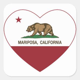 corazón del mariposa de la bandera de California Pegatina