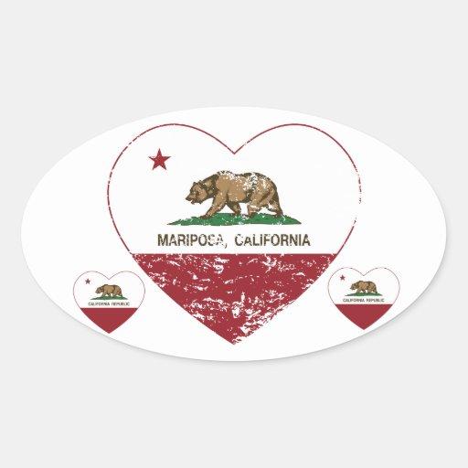 corazón del mariposa de la bandera de California Pegatinas Ovaladas Personalizadas