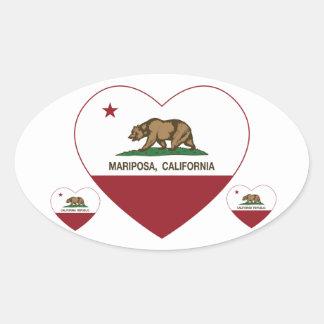 corazón del mariposa de la bandera de California Calcomanía Oval