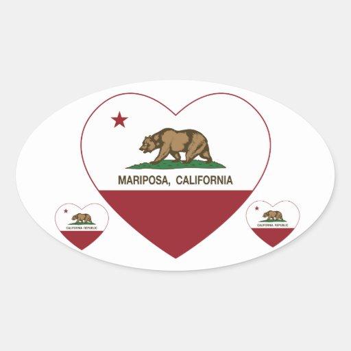corazón del mariposa de la bandera de California Calcomania Óval