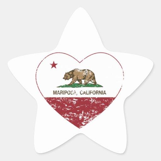 corazón del mariposa de la bandera de California Calcomanía Forma De Estrella