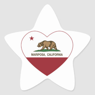 corazón del mariposa de la bandera de California Calcomania Cuadrada Personalizada