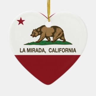 corazón del mirada del la de la bandera de Califor Ornamento Para Reyes Magos