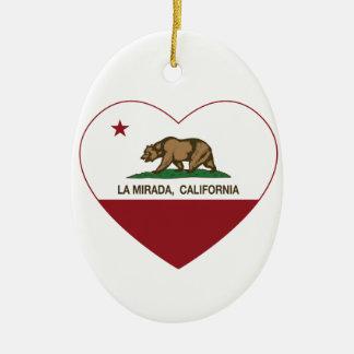 corazón del mirada del la de la bandera de Califor Adornos