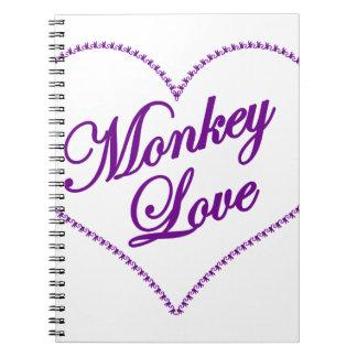 Corazón del mono - amor del mono libros de apuntes con espiral