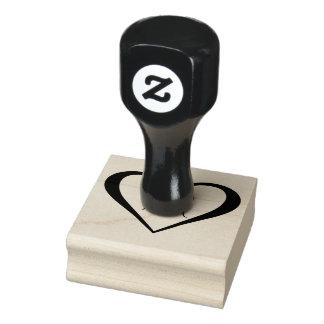 Corazón del monograma sello de caucho