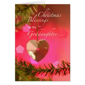 Corazón del navidad de la ahijada en alegrías tarjeta de felicitación