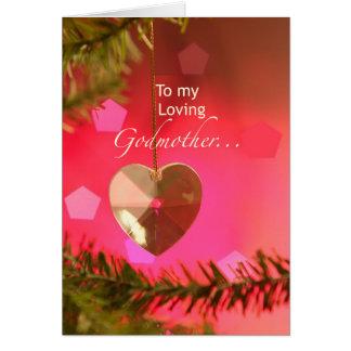 Corazón del navidad de la madrina en alegrías tarjeta de felicitación