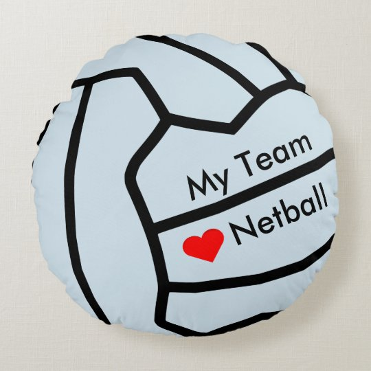 Corazón del Netball del amor y diseño de la bola Cojín Redondo