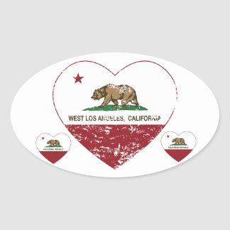 corazón del oeste de Los Ángeles de la bandera de Pegatina Ovalada