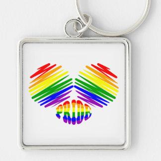 Corazón del orgullo gay llavero cuadrado plateado