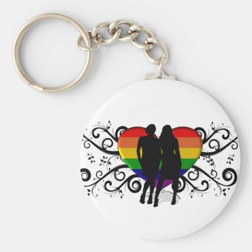 Corazón del orgullo gay para las mujeres llaveros