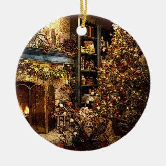 Corazón del ornamento del navidad adorno navideño redondo de cerámica