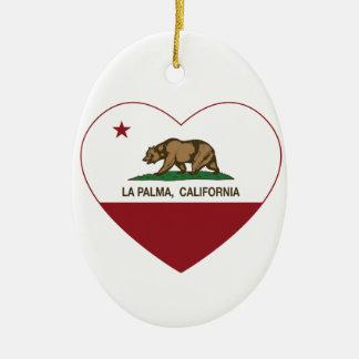 corazón del palma del la de la bandera de Californ Adornos