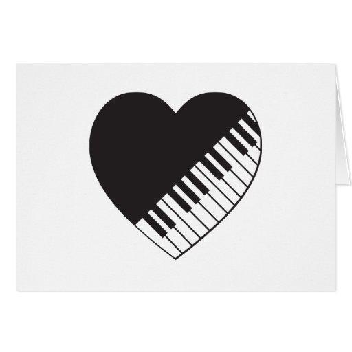 Corazón del piano tarjeta