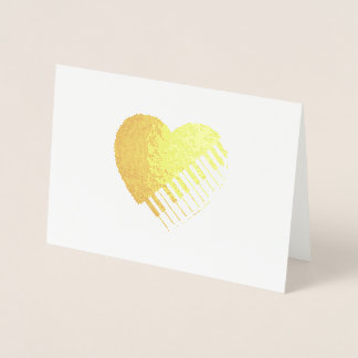Corazón del piano tarjeta con relieve metalizado
