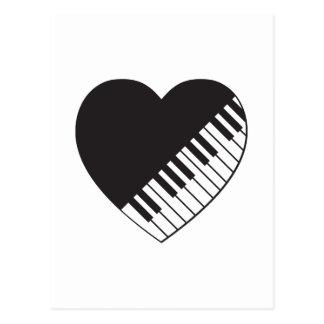Corazón del piano tarjeta postal