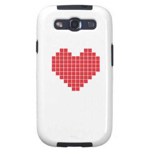 Corazón del pixel galaxy s3 cárcasas
