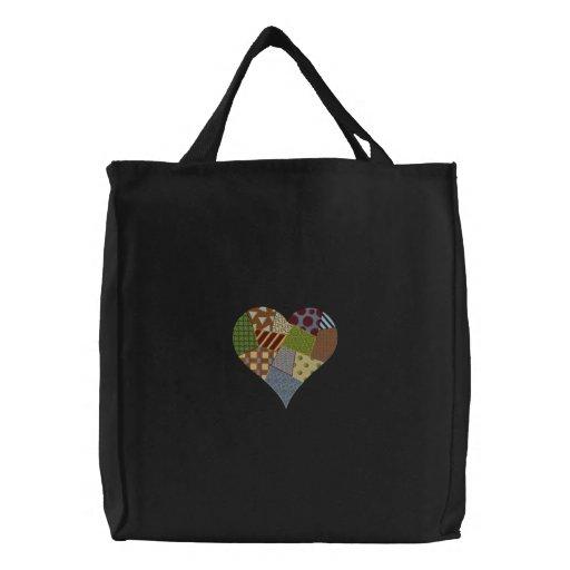Corazón del remiendo bolsa bordada