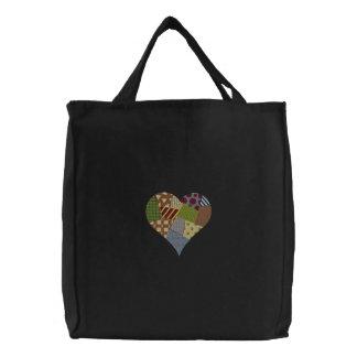 Corazón del remiendo bolsa de lienzo