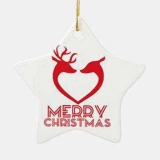Corazón del reno adorno navideño de cerámica en forma de estrella