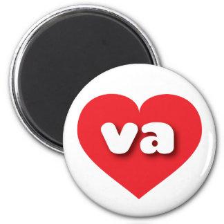 Corazón del rojo de Virginia va Imán Redondo 5 Cm
