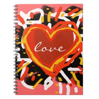 corazón del rojo del amor libro de apuntes con espiral