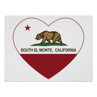 corazón del sur del monte del EL de la bandera de  Posters
