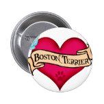 Corazón del tatuaje de Boston Terrier Chapa Redonda De 5 Cm
