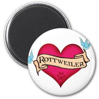 Corazón del tatuaje de Rottweiler Imán Redondo 5 Cm