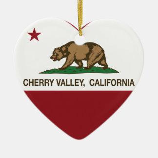 corazón del valle de la cereza de la bandera de Ca Adorno De Navidad